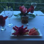 "private dinner on balcony, with example of turn down ""treat"""