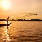 Local fisherman casts his net, Floating village, Kampong Chhnang