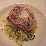 Salmon on polenta with summer vegetables