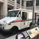 A postal van in the level 1 'moving the mail' exhibit.