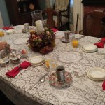 Breakfast Table (Linen Napkins, Tablecloth & China)