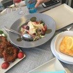 Zucchini fritters, greek salad & saganaki