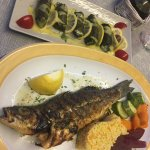 Dolmades and baked fish