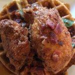 Siracha maple bacon chicken & waffles