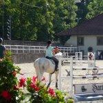 Blick von der Hotelterrasse auf den Pferdeparcours