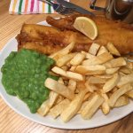 Fish and Chips with mushy peas at Smart Fish Bar, Lee on the Solent, Gosport, UK