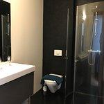 Very modern, clean bathroom