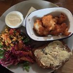 Pollock fish fingers with nectarine/sumac slaw....outstanding!