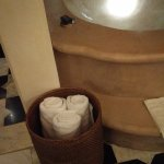 Nice concept of towels in a basket