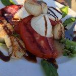 Caprese salad with scallops - very fresh