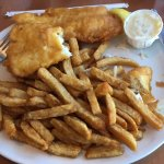 This is the prime choice - two pieces of halibut and fries.