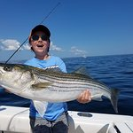 Her first striped bass fishing trip.