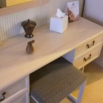 Dressing table - you can just see the wooden pear key fob thereon