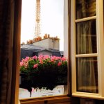 6th floor room with Eiffel Tower view from our bed