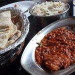 Fish masala, roti and veg fried rice