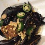 PEI Mussels, amazing soy chorizo.