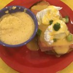 Smoked salmon eggs benedict on gluten-free with a side of cheddar grits!