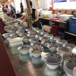 Prep line for noodle bowls.