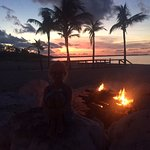 Beach bonfire and a beautiful sunset. Amazing trip.
