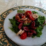 Heart of Palm Salad with a Mediterranean flair - and extra olives from my wife. :-)