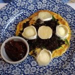 Black pudding & goat's cheese frittata