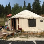 The office and changing rooms are in a yurt.