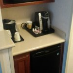 Little kitchen with Keurig cups and REAL half-n-half! Love it!