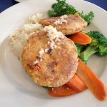 Crab cakes were tender and flavorful; veggies cooked just right.