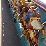 Padlocks on the bridge in Bakewell with couples names engraved on them