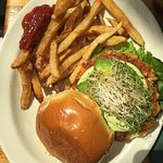 salmon burger with fries