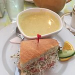 Curry Cauliflower Soup and a half order of The Cran Sandwich