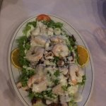 Shrimp Salad with crisp lettuce & veggies & many succulent shrimp tossed in a heavenly dressing