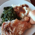 Fried chicken, mashed potatoes and gravy plus greens (all from the buffet)