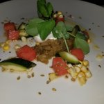 Burrata with eggplant chutney, watermelon, zucchini and ginger-lime vinaigrette.