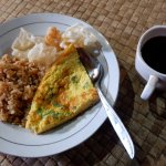 breakfast menu : fried rice with egg and coffee