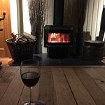 A relaxing glass of Otago Valley Pinot Noir after a days skiing.