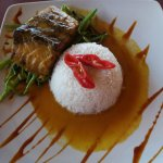 baracuda fish with steamed rice