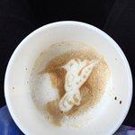 Unique froth art-- hummingbird-- by Janet at Elevation Coffee in El Prado/Taos