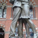 Statue at St Pancreas  Station.