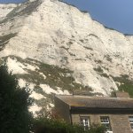 View of white cliffs from back garden