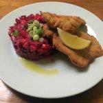 Fried pork schnitzel with salad Vinegret