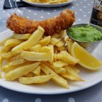 Hake, Chip & Mushy Peas, washed down with an ice cold Corona