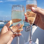A glass of bubbly as we sailed out