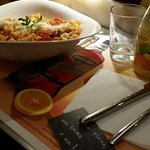 Pasta with Italian sausage, tomatoes and Parmesan cheese