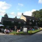 Busy sunny day outside the Lister Arms