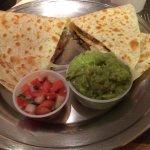 More steak and cheese quesadilla with pico de gallo and guacamole