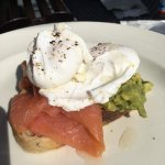 smashed avo & smoked salmon with poached eggs