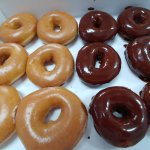 Regular HOT glazed on the left and Eclipse HOT chocolate covered on the right