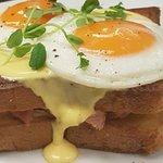 Croque Madame| grilled ham & swiss sandwich on brioche  with 2 free range eggs & hollandaise