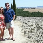 Matt and Kristen from Usa enjoying the Full day Tuscan Wine tour near Vitaleta Chapel, Pienza